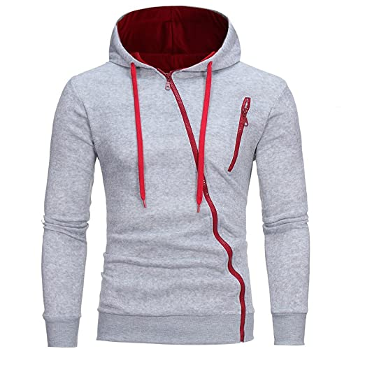 fc407d932 Sunhusing Men's Solid Color Long-Sleeve Hooded Pullover Sweater Diagonal  Zipper Pocket Casual Sweatshirt Coat at Amazon Men's Clothing store:
