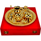 Jaipur Ace Traditional Gold Plated Brass Pooja Thali Set Of 7 Pieces (Abg00011 )
