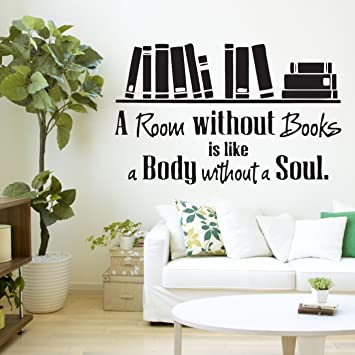 HUANYI A Room Without Books Quote Library Wall Sticker Decal Vinyl Art Transfer