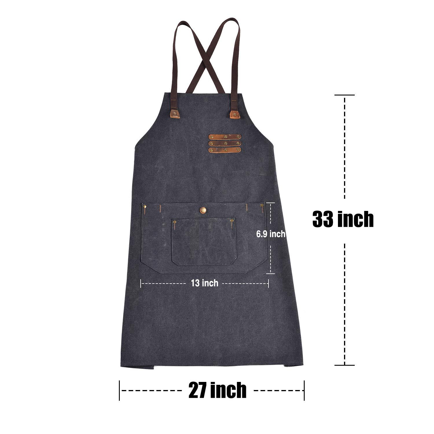 Canvas Shop Apron for Men & Women  Heavy Duty Work Apron with Pocket & Cross-Back Straps   Adjustable Tool Apron M to XXL(Grey) by ruizhixuan (Image #7)