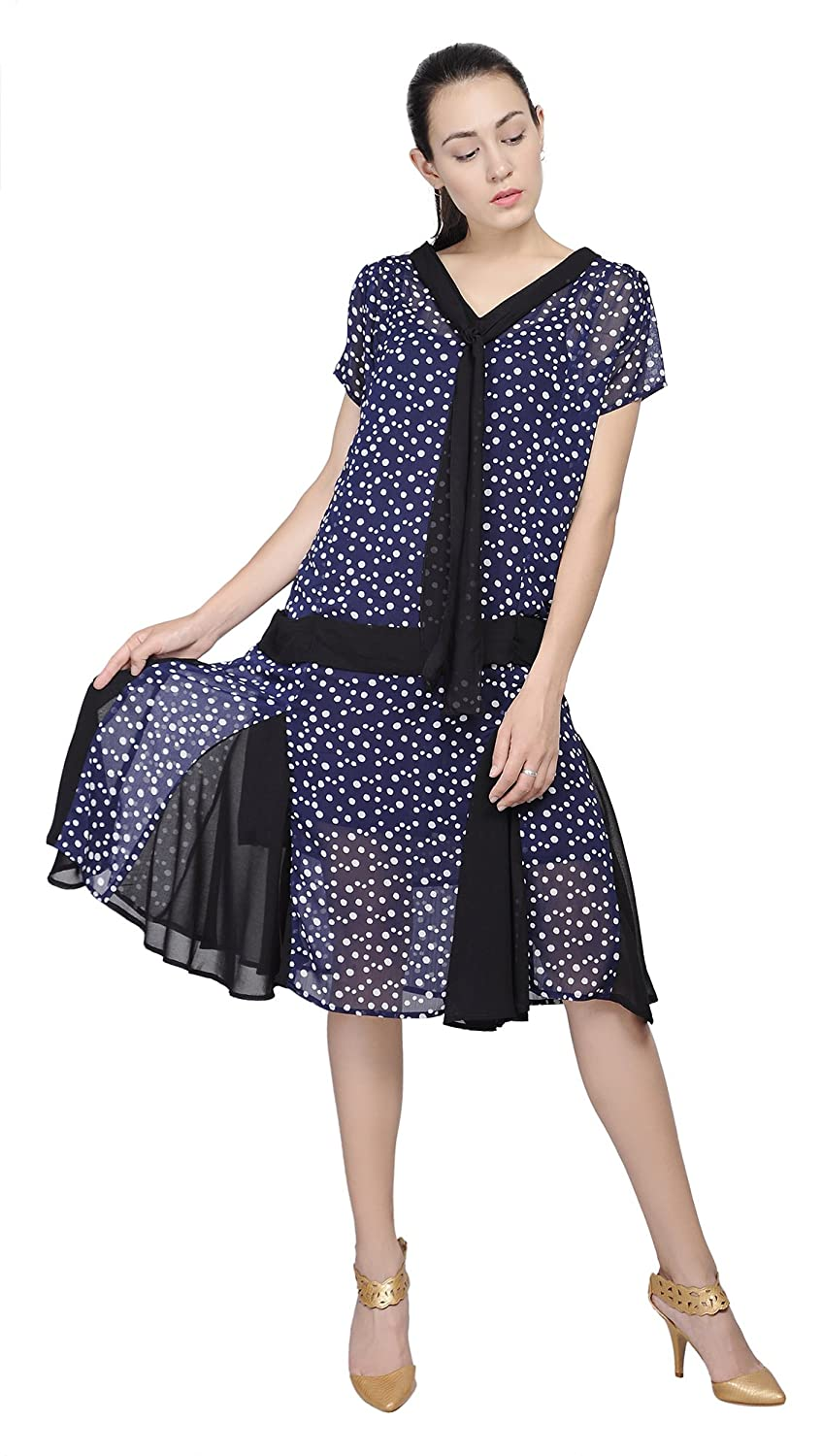 Plus Size Vintage Dresses, Plus Size Retro Dresses Marycrafts Woment Drop Waist 1920s Lined Floral Godet Dress $36.90 AT vintagedancer.com