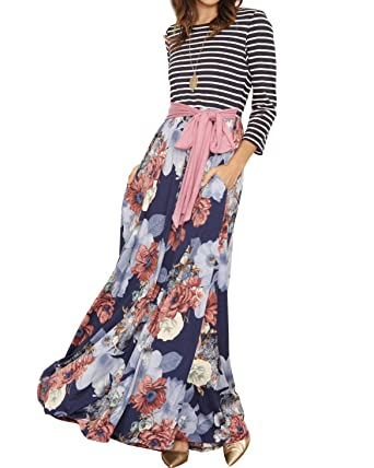 a5cbb37461b Womens Casual 3 4 Sleeve Striped Patchwork Floral Print Tie Waist Maxi Long  Dress with