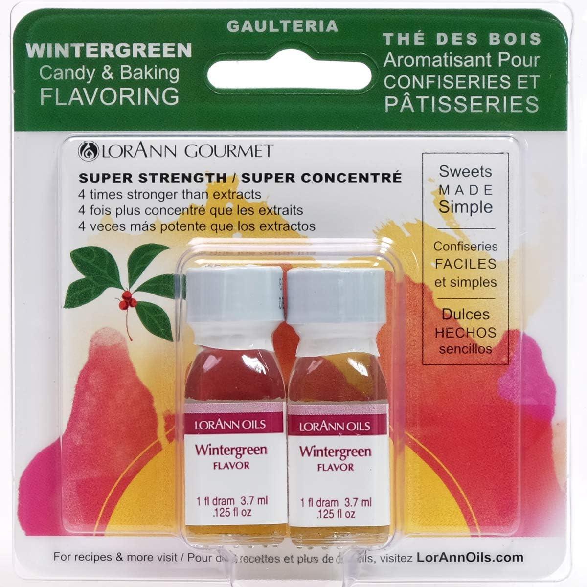 LorAnn Wintergreen Super Strength Flavor, 1 dram bottle (.0125 fl oz - 3.7ml) - Twin Pack Blistered