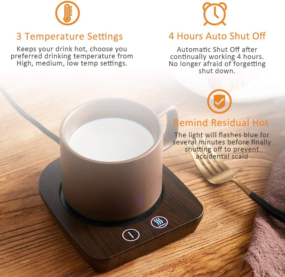 Beverage VOBAGA Coffee Mug Warmer 3 Temperature Setting Smart Cup Warmer for Warming /& Heating Coffee Milk Electric Coffee Warmer for Desk with Auto Shut Off No Cup Tea and Hot Chocolate