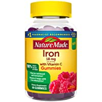 Nature Made Iron Gummies 18 mg with Vitamin C, 60 ct for Red Blood Cell Support