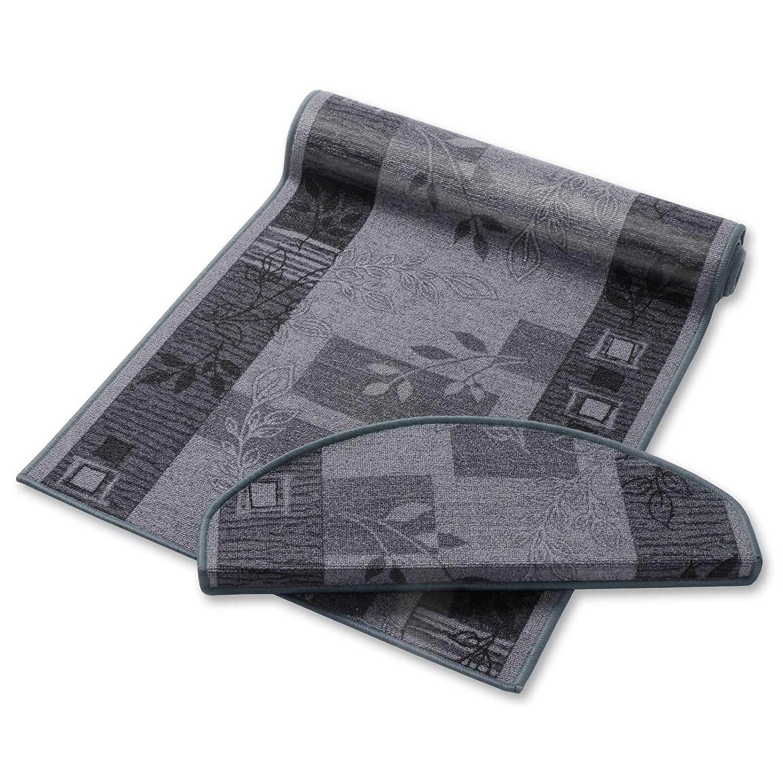 Casa pura Teppich Läufer Grau mit Pflanzenmusterung   Qualitätsprodukt aus Deutschland   Gut Siegel   Kombinierbar mit Stufenmatten   3 Breiten und 27 Längen (100 x 450cm)