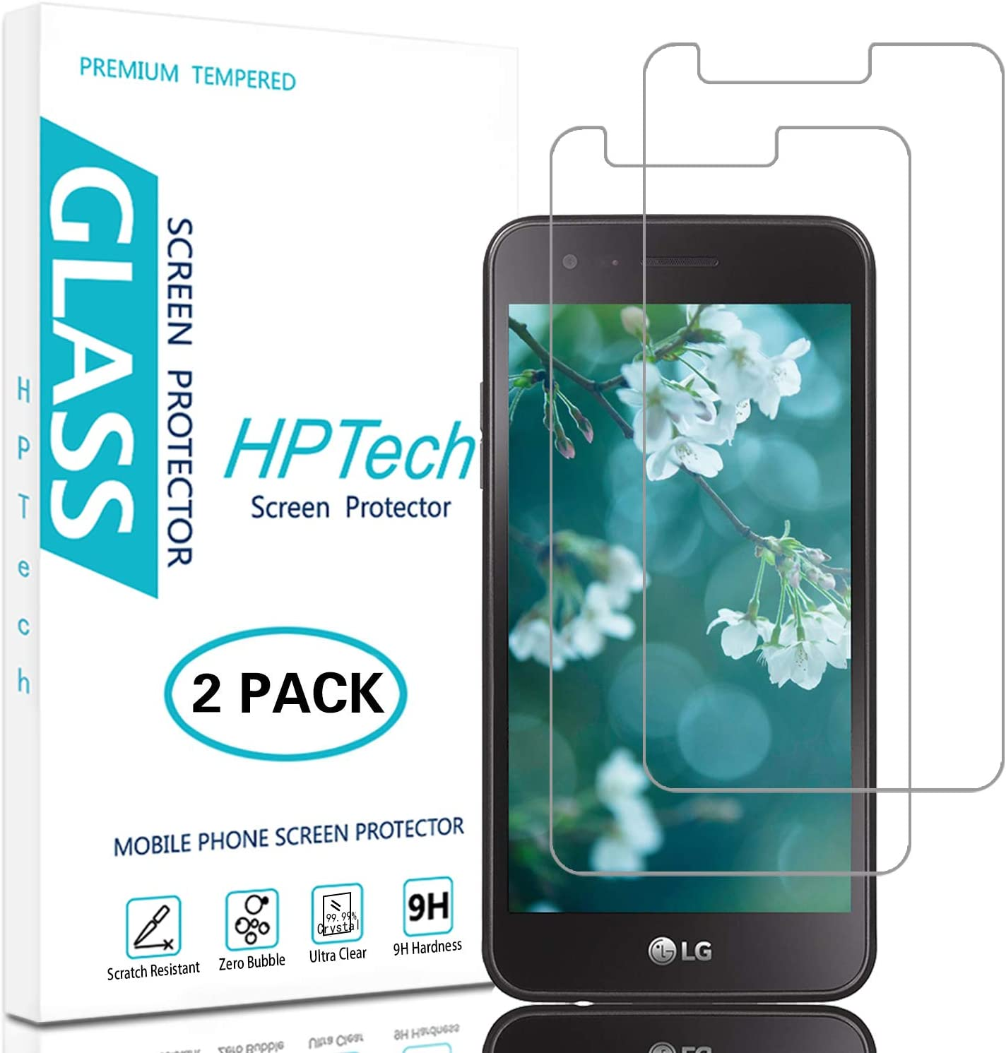 HPTech LG Rebel 3 LTE Screen Protector - (2-Pack) Tempered Glass Film for LG Rebel 3 LTE Screen Protector Easy to Install, Bubble Free with Lifetime Replacement Warranty