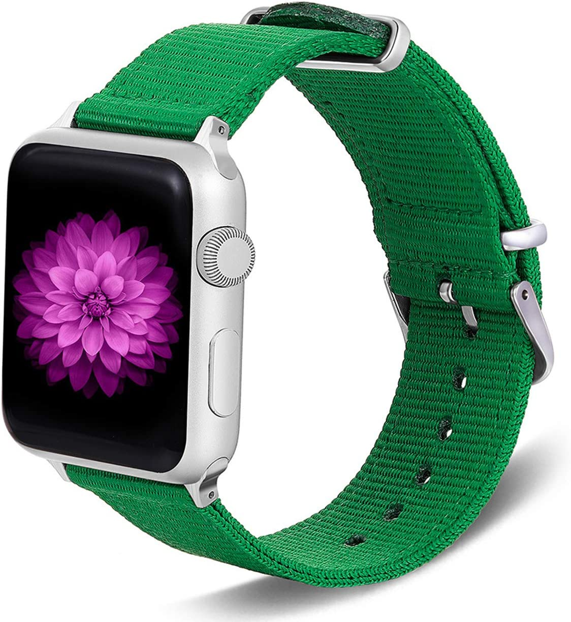 TinaWood Wristband Watch Strap Comfortable Denim Fabric Replacement Watch Band Compatible for iWatch Series 4/3/2/1 (Green, 38MM/40MM)