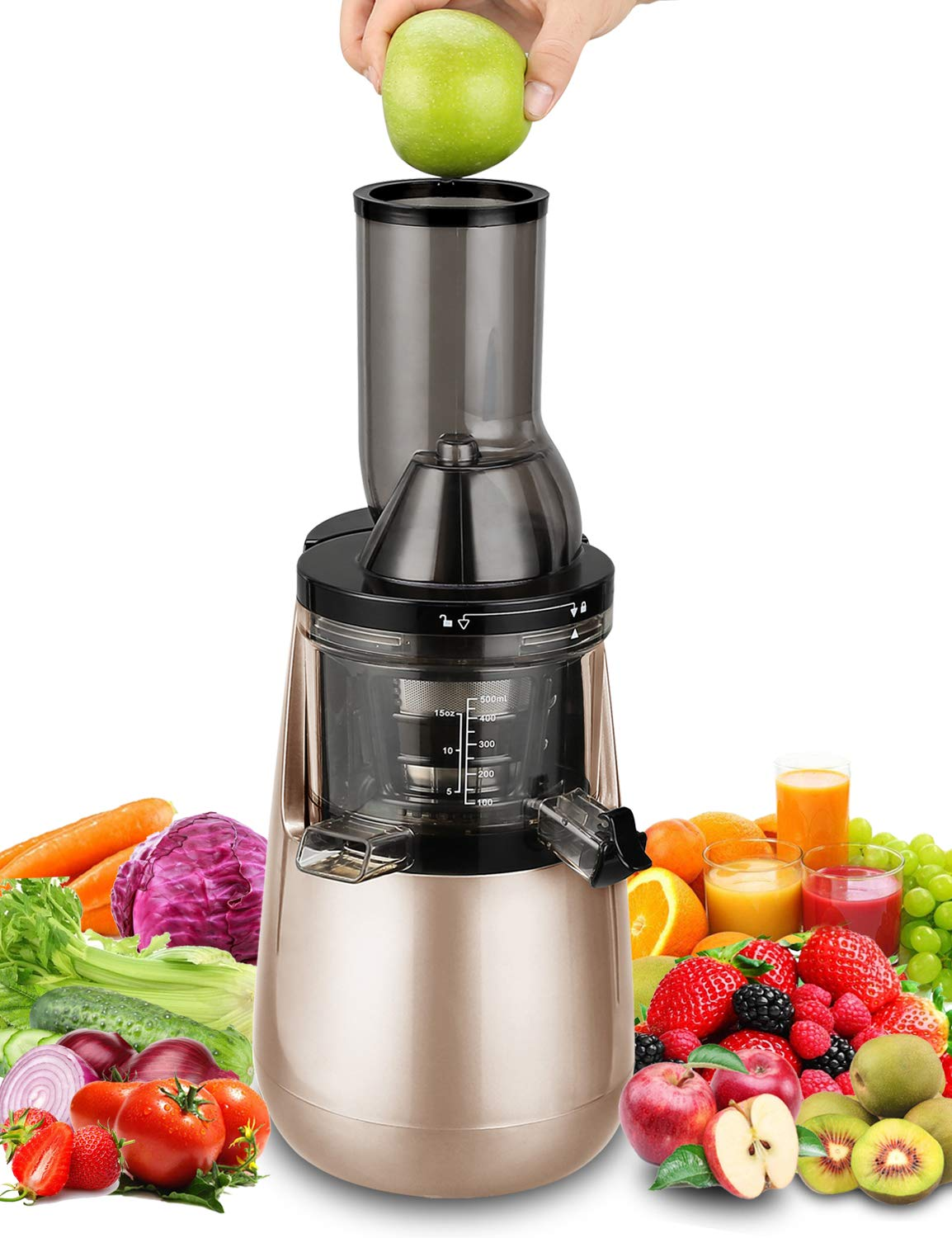 """Slow Masticating Juicer by Tiluxury, Low Speed With Wide Chute Anti-Oxidation,Whole Fruit and Vegetable Vertical Cold Press Juicers(250W AC Motor,40 RPMs,3"""" Big Mouth),BPA Free (Champagne Gold)"""