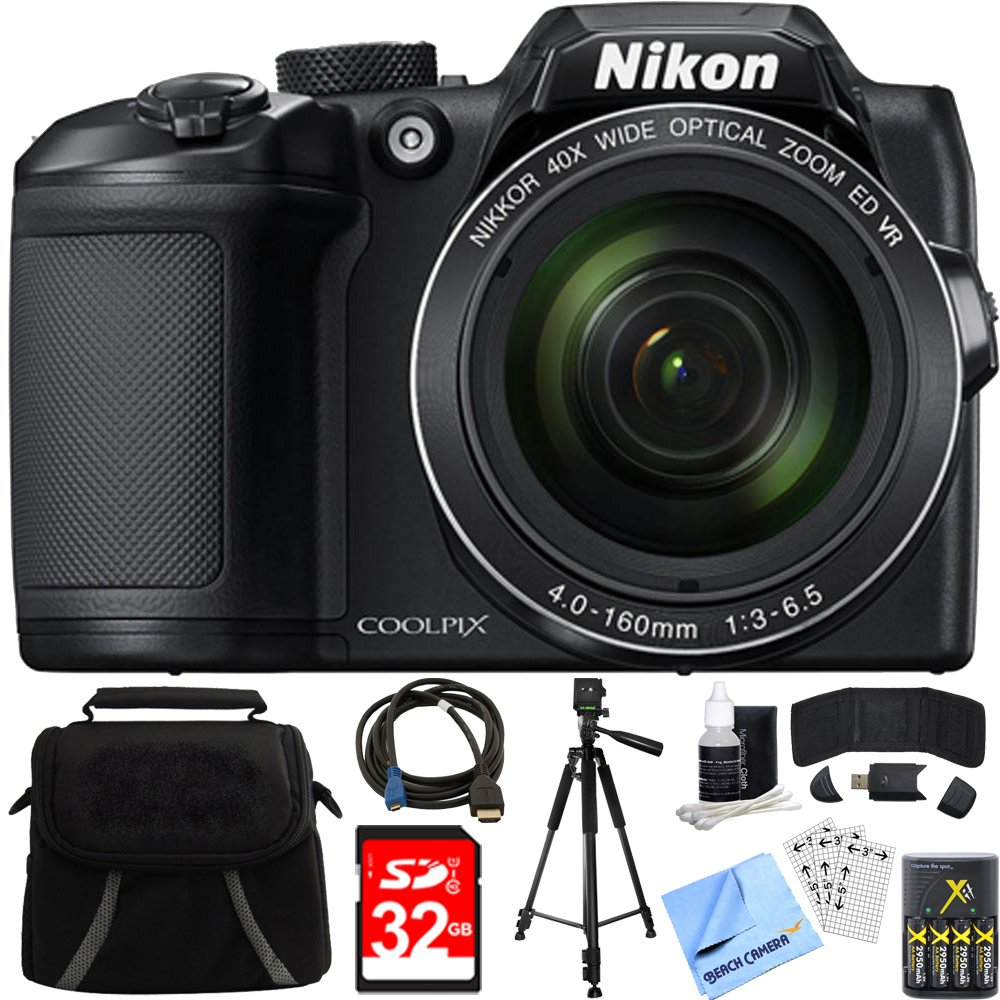 Nikon COOLPIX B500 16MP 40x Optical Zoom Digital Camera 32GB Bundle includes Camera, Bag, 32GB Memory Card, Reader, Wallet, AA Batteries + Charger, HDMI Cable, Tripod, Beach Camera Cloth and More by Nikon
