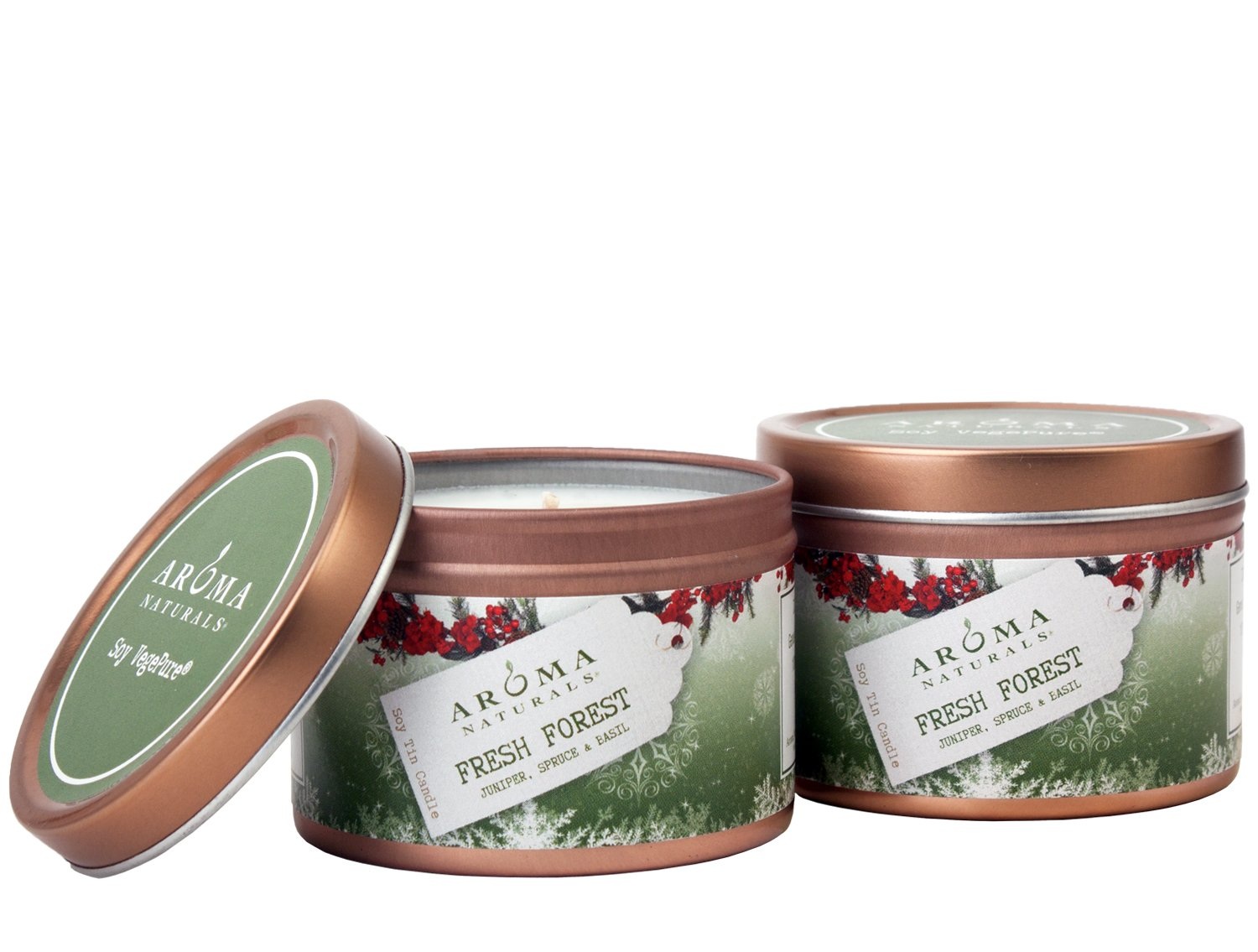 Aroma Naturals Tin Candle Soy Essential Oil with Juniper, Spruce and Basil, Natural Evergreen Holiday, 2 Count