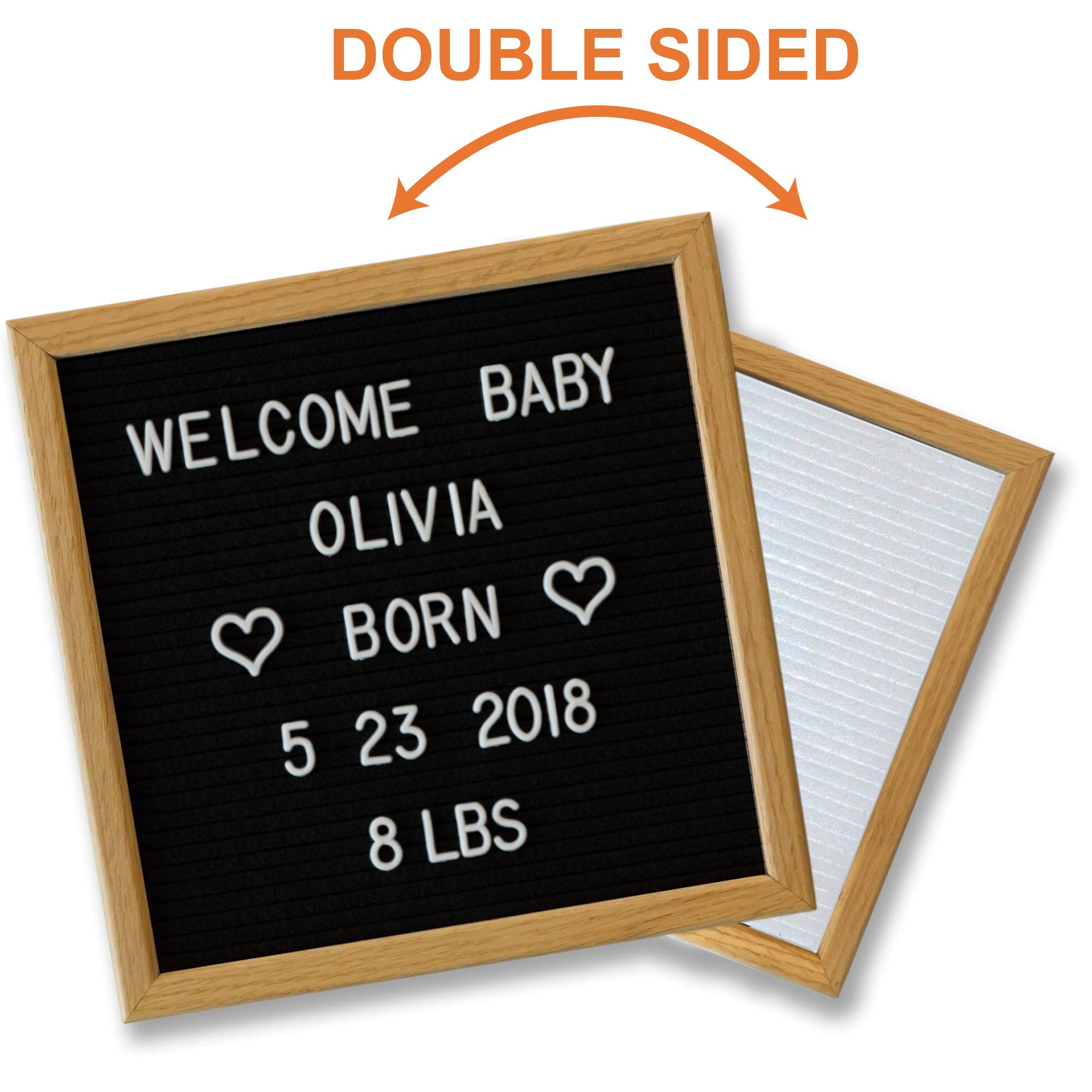 Black Letter Board White Double Sided 10x10, Stylish Stand and 600 Changeable Letters. American Oak Frame. Baby Announcement Board, Baby Shower Gift, Personalized Messaging Home.