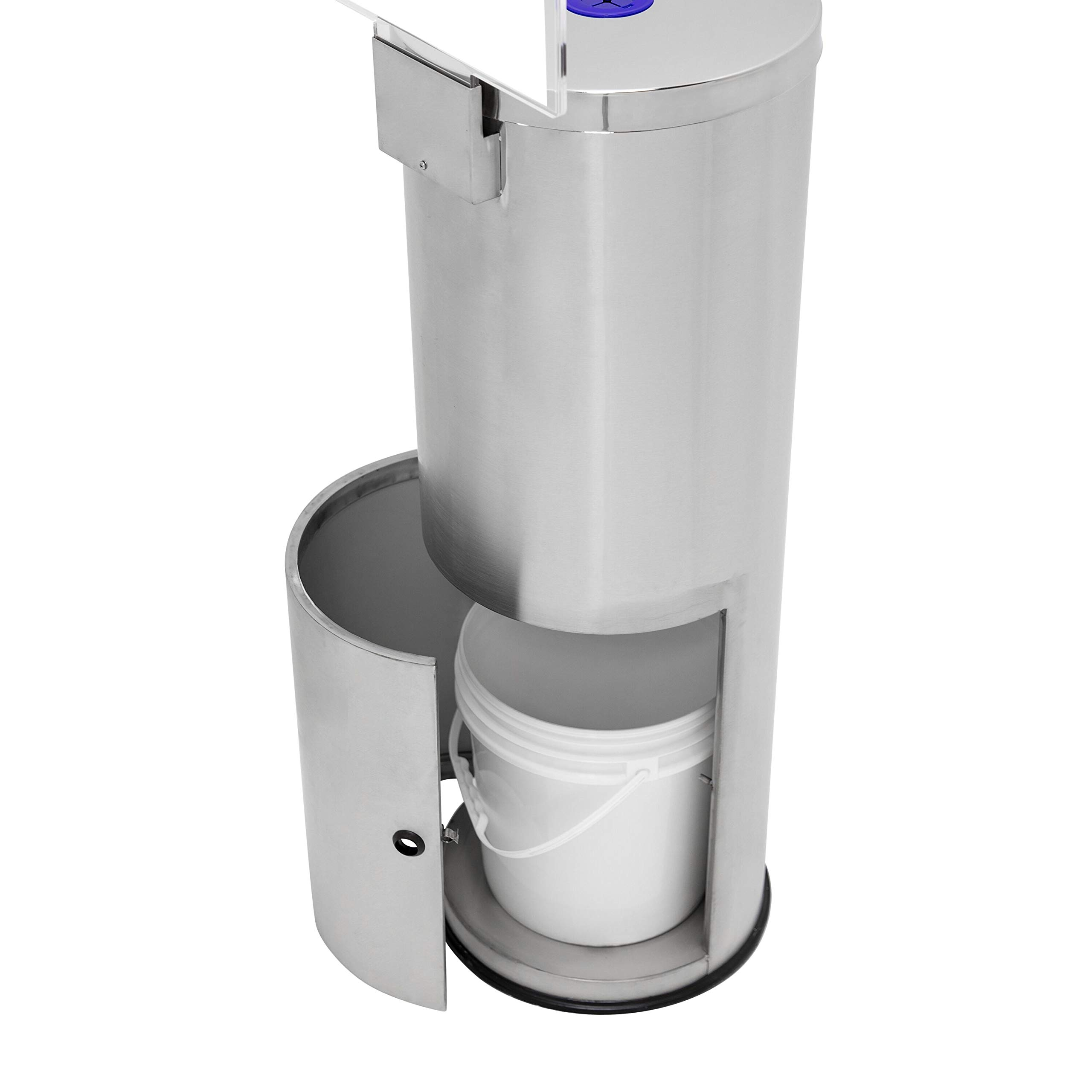 Germisept Stainless Steel Wipes Dispenser with High Capacity Built-in Trash Can and Back Door Access, with Sign Board by GERMISEPT (Image #5)