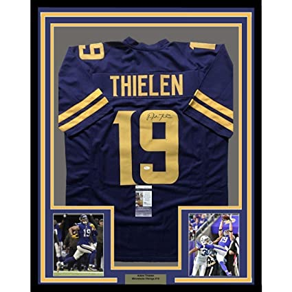 purchase cheap 24789 3bfc1 Autographed Adam Thielen Jersey - FRAMED 33x42 Color Rush ...