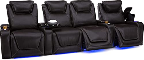 Seatcraft Pantheon Big Tall 400 lbs Capacity Home Theater Seating Leather Power Recline with Adjustable Powered Headrest and Lumbar, and Lighted Cup Holders, Brown, Row of 4 with Middle Loveseat