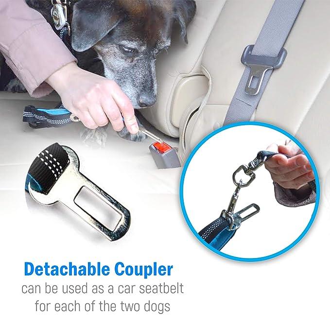 Amazon.com : 2 Dog Leash Tangle-Free Dual Dog Leash - Double Leash for Big and Small Dogs - Neoprene Padded Handles for Extra Comfort - Seatbelt Hooks ...