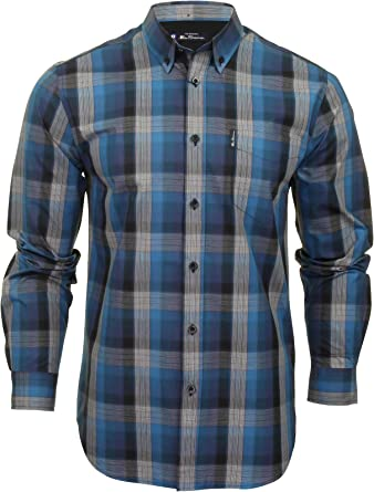 Ben Sherman - Camisa de cuadros para hombre (manga larga) Azul azul marino M: Amazon.es: Ropa y accesorios