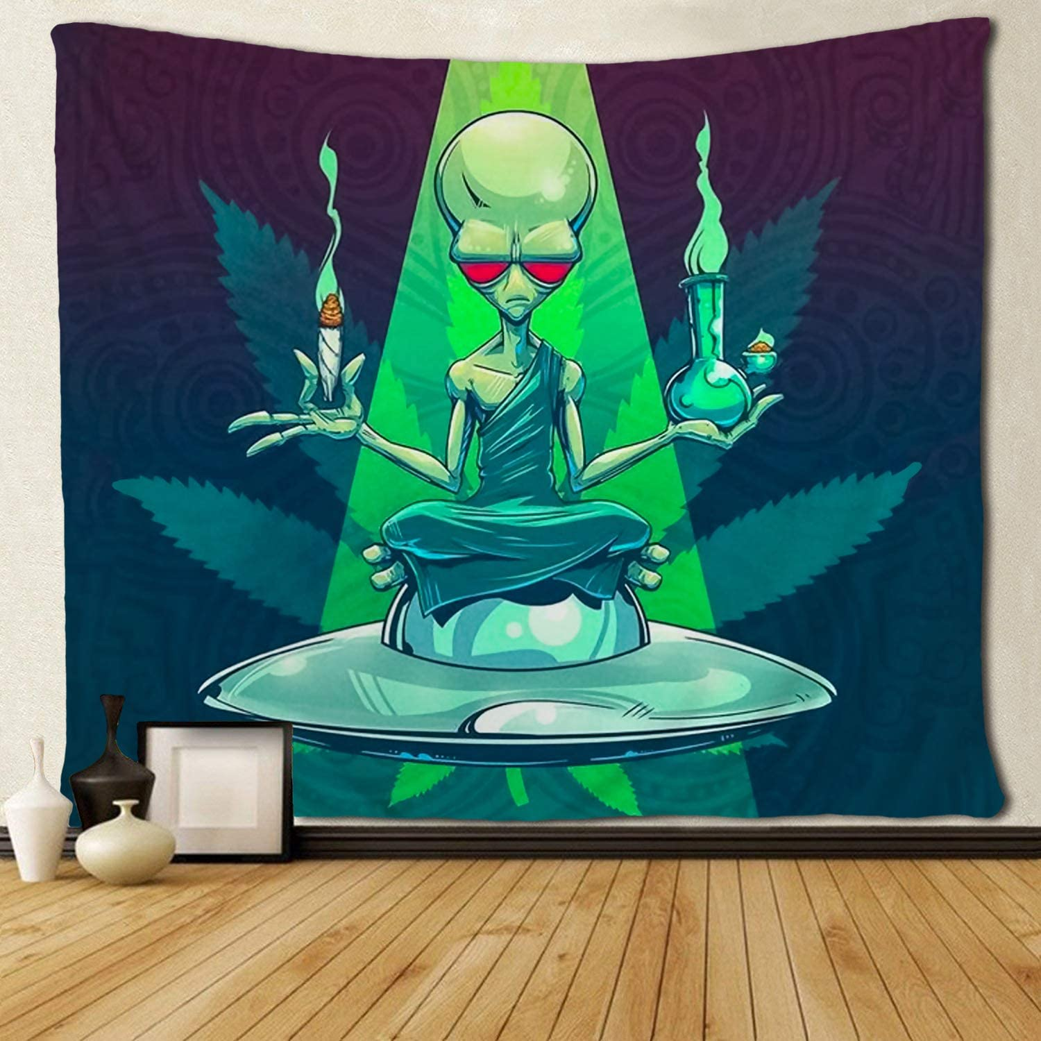 SARA NELL Magical Trippy Psychedelic Tapestry Cool Alien Take Cigar and Drug Marijuana Leaf Weed Tapestries Wall Hanging Hippie Art 50x60 Inches Home Decoration Dorm Decor for Living Room Bedroom