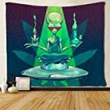 SARA NELL Magical Trippy Psychedelic Tapestry Cool Alien Take Cigar and Drug Marijuana Leaf Weed Tapestries Wall Hanging…