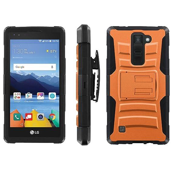 wholesale dealer c8f31 7e059 Amazon.com: LG [K8V] Verizon Phone Cover, Orange- Black Blitz Hybrid ...