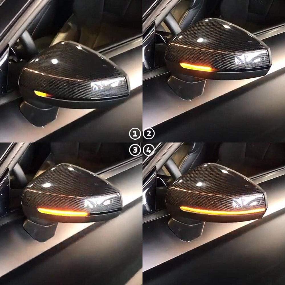 2019 Ersatz f/ür A-udi A3 S3 RS3 8V 2013 schwarzes Geh/äuse Dynamische LED-Blinker f/ür Seitenspiegel
