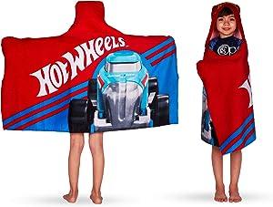 "Franco Kids Bath and Beach Soft Cotton Terry Hooded Towel Wrap, 24"" x 50"", Hot Wheels"