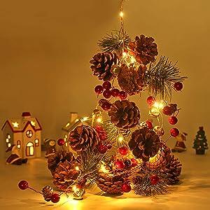 Christmas garland with lights,20 LED 6.56FT christmas garland string lights,Pine Garland,Battery Powered garland Lights Christmas Decorations garland for Home Garland for Fireplace Mantel Decor