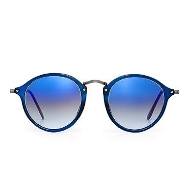 46d7aeaa34d Retro Polarized Round Sunglasses Small Glasses Circle Lens Men Women  (Blue Glass Gradient Blue