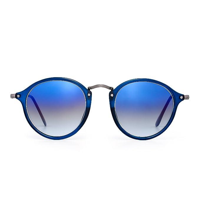 Gafas de Sol Polarizadas Retro Redondas Lentes de Espejo Pequeño Circulo Tintado Hombre Mujer