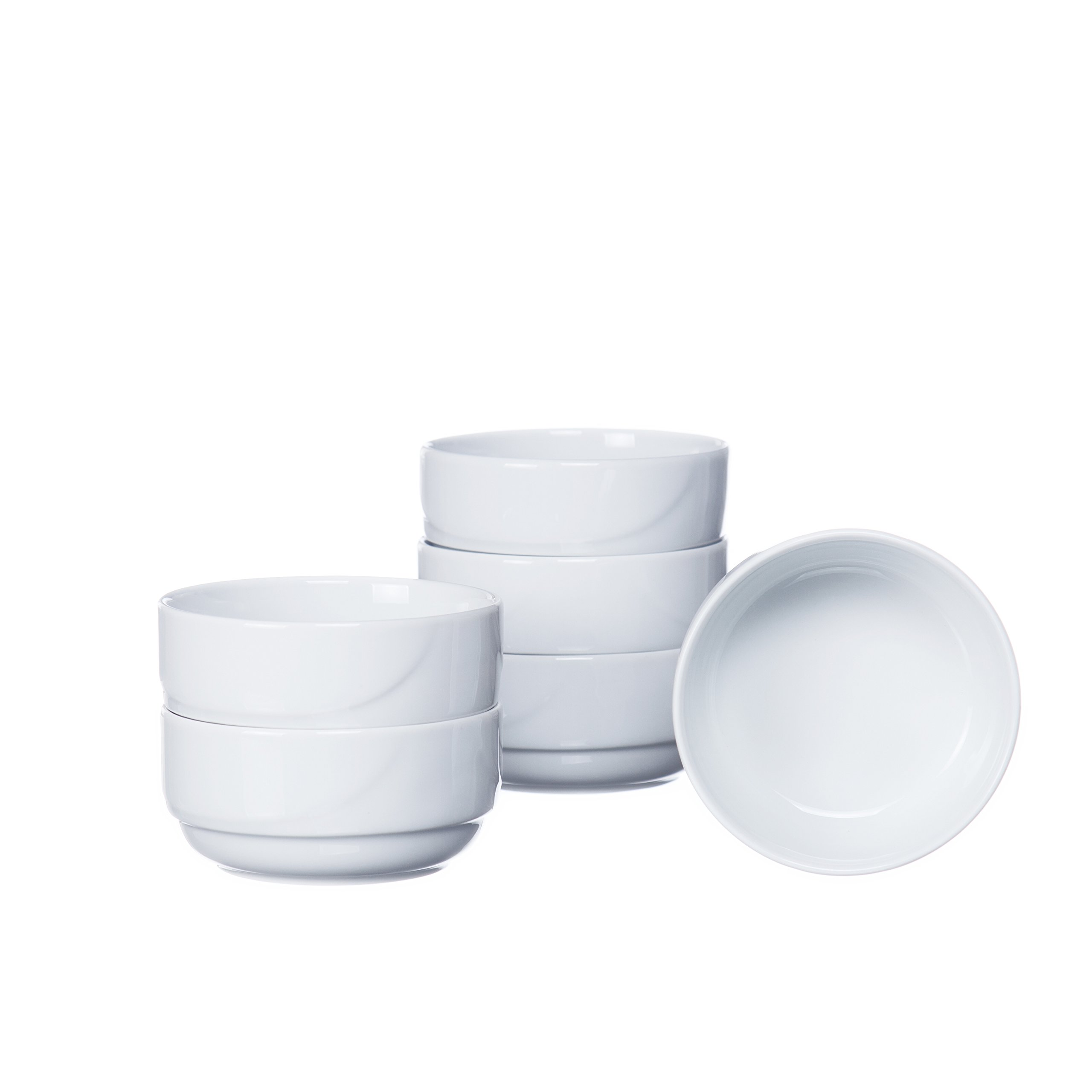 Soup/Cereal BOWLS without Handles (4-piece, 6-piece, 12-piece Sets), 13 Oz, White Porcelain, Restaurant&Hotel Quality (4)