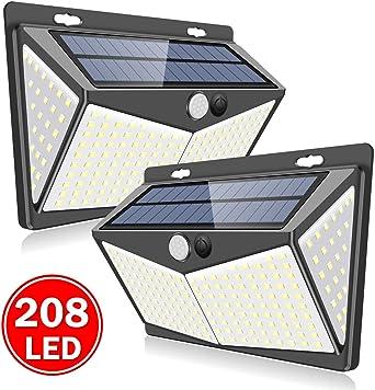 SUPER BRIGHT SOLAR POWERED WALL LIGHTS OUTDOOR GARDEN 3 MODES LIGHTING 208 LED