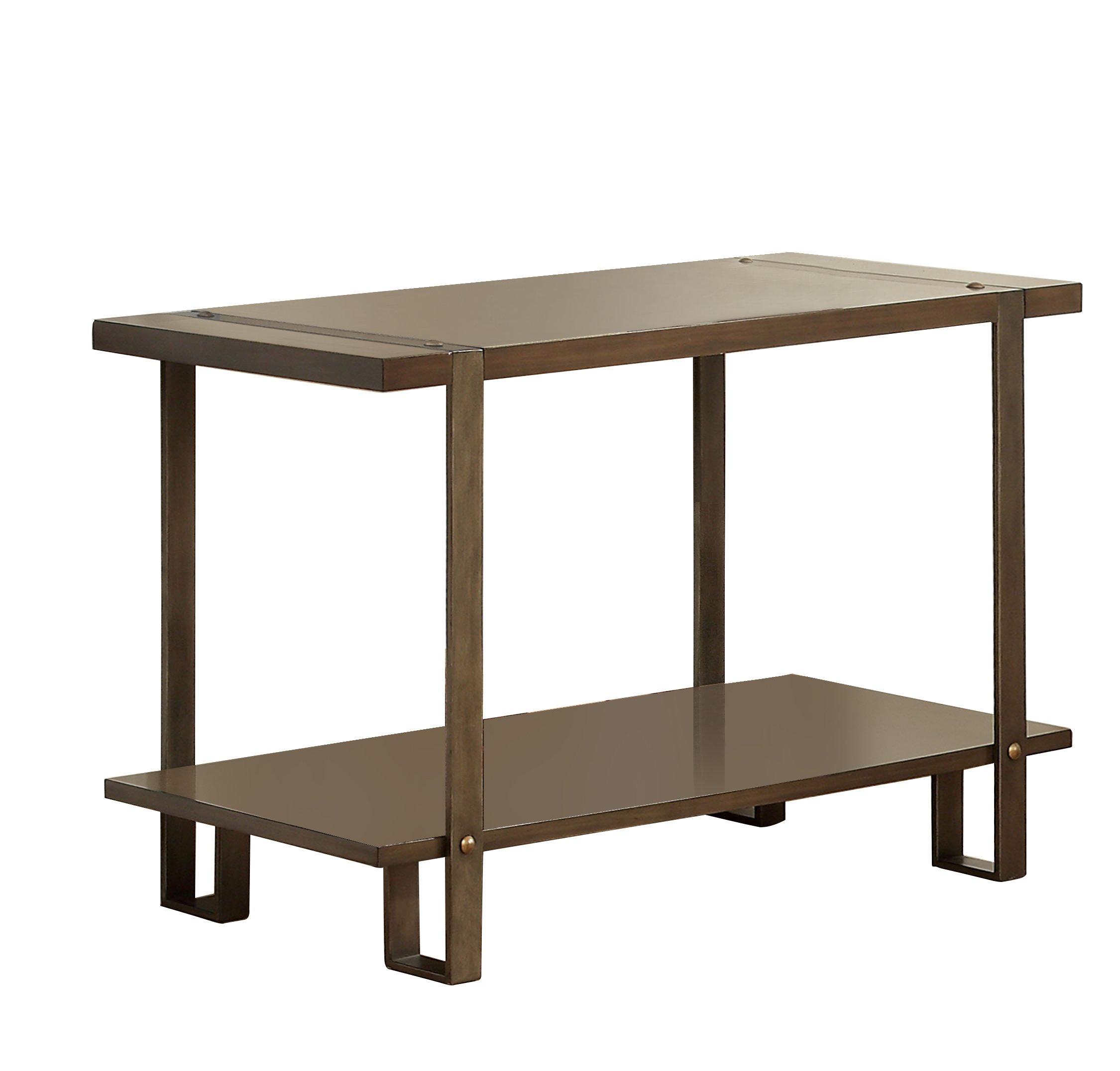Furniture of America Barrett Rustic Sofa Table, Dark Oak