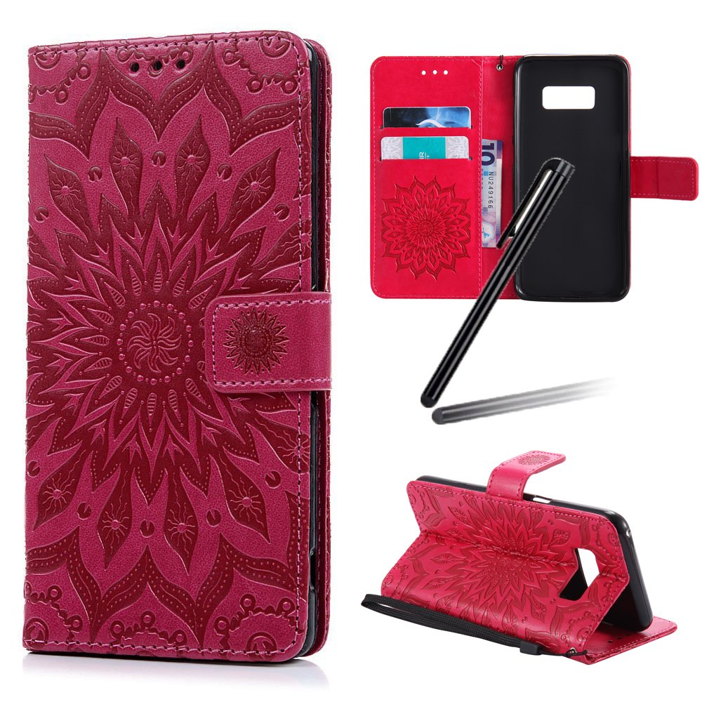 Galaxy S8 Stand Case, Samsung Galaxy S8 Wallet Case, Galaxy S8 2017 PU Leather Case, SKYMARS Sunflower Embossed PU Leather Flip Kickstand Cards Slot Cash Pockets Wallet Magnetic Closure Book Style Case for Samsung Galaxy S8 2017 Sunflower Red