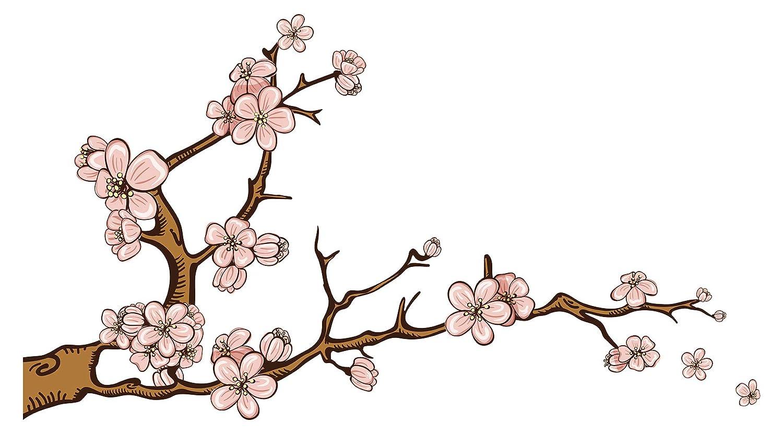 Wandtattoo Asien Zweig mit Blüten Wandsticker Wanddeko Wohnzimmer Japan Deko