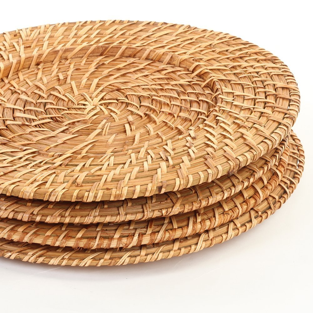 Koyal Wholesale Rattan Charger Plates (4-Pack, Honey Brown)