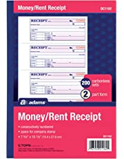 Adams Money and Rent Receipt, 7.63 x 11 Inches, 2-Parts, Carbonless, 4 per Page, 200 Sets, White and Canary, (DC1182)