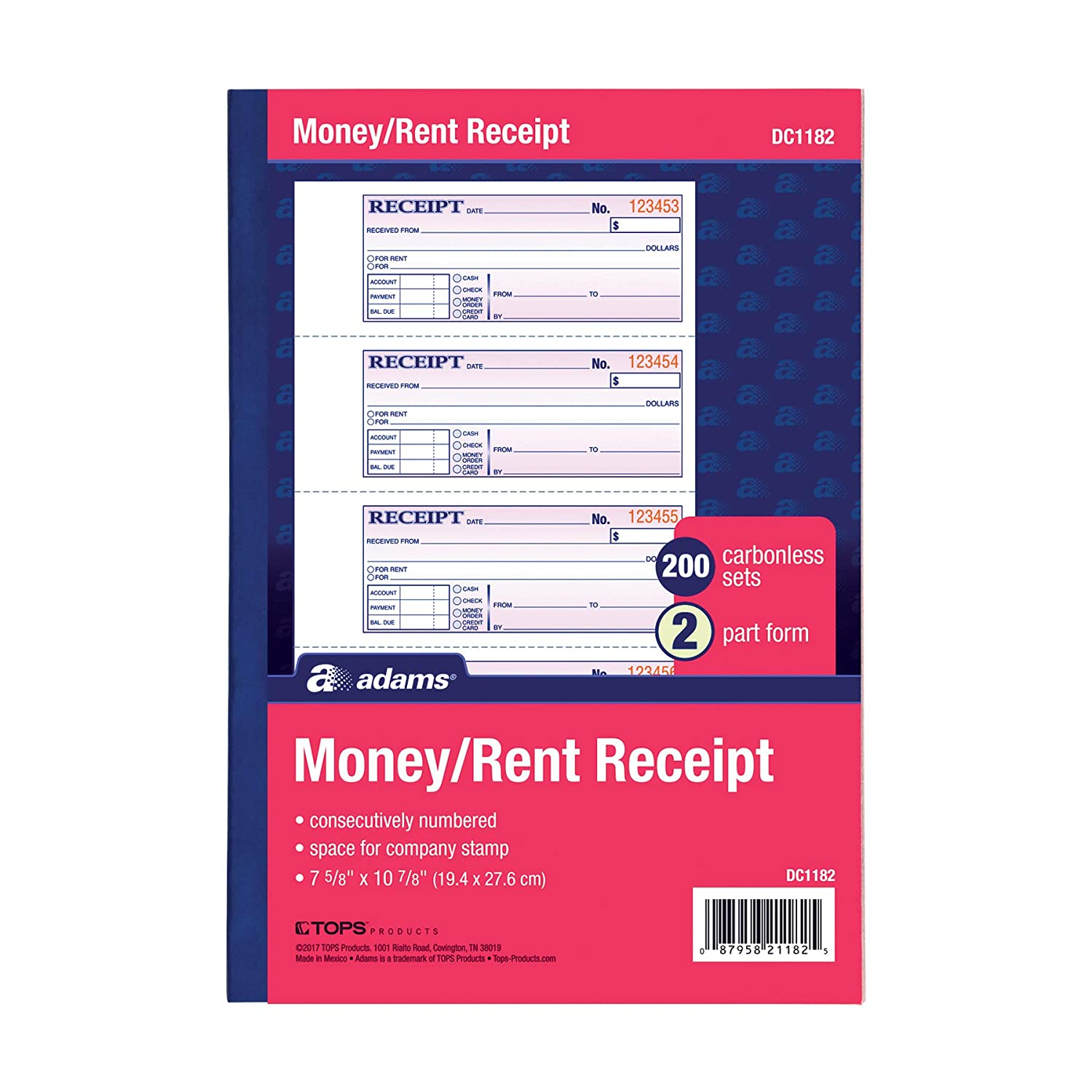 Adams Money and Rent Receipt, 7.63 x 11 Inches, 2-Parts, Carbonless, 4 per Page, 200 Sets, White and Canary, (DC1182) TOPS Business Forms Inc.