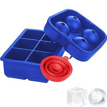 Gran silicona Ice Cube bandejas mold Combo Set de 2, viwieu 3d novedad bola de hielo ...
