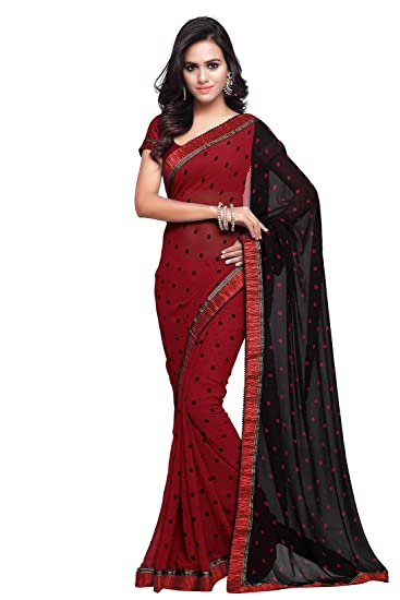 Review Bollywood Saree For Women Printed Wedding Traditional Indian Sari (238_Red)