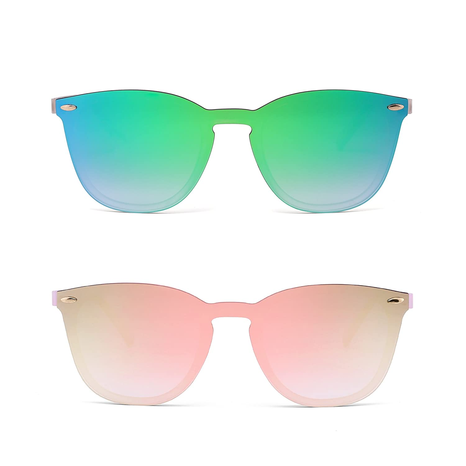 1c4f3e2cb12 JIM HALO Rimless Sunglasses One Piece Mirror Reflective Eyeglasses for Men  Women 2 Pack (Green   Pink) at Amazon Women s Clothing store