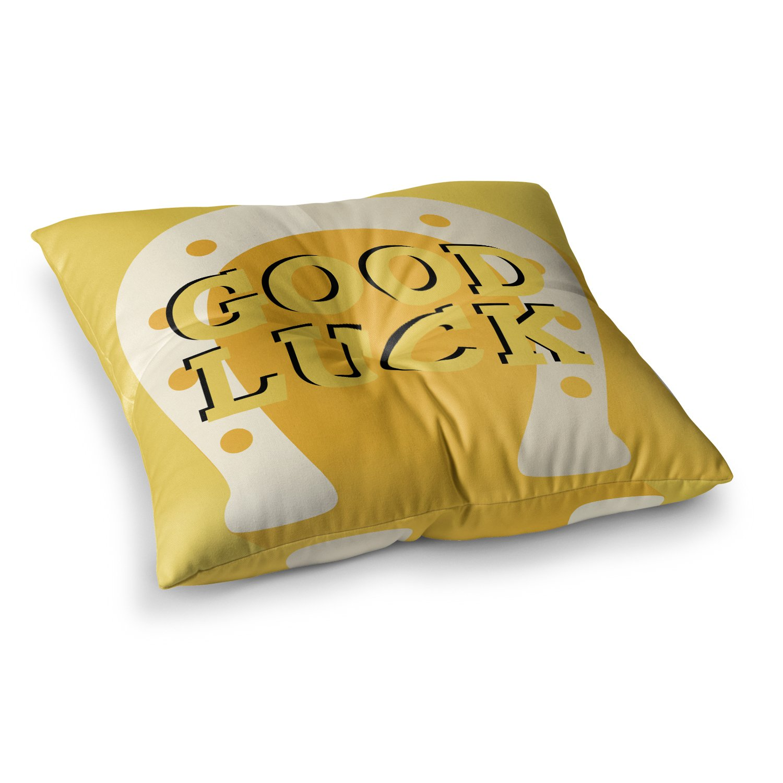 23 x 23 Square Floor Pillow Kess InHouse Kess Original Lucky Horseshoe Yellow Typography