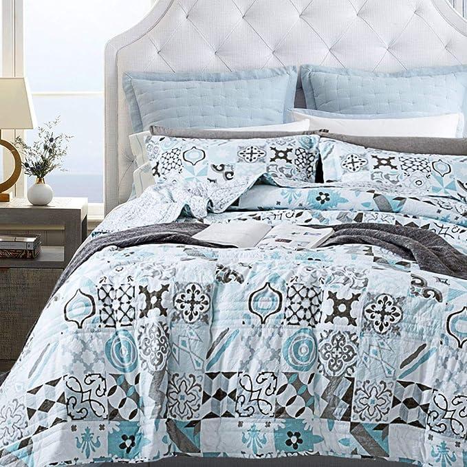 Drimbringer All-Season Soft Bedding Quilt /& 2 Shams Bedspread Coverlet Set