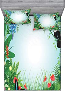 Lunarable Tropical Fitted Sheet & Pillow Sham Set, Exotic Forest with Toco Toucan Bird Anthurium and Hibiscus Flowers Jungle Ecology, Decorative Printed 3 Piece Bedding Decor Set, Queen, Green