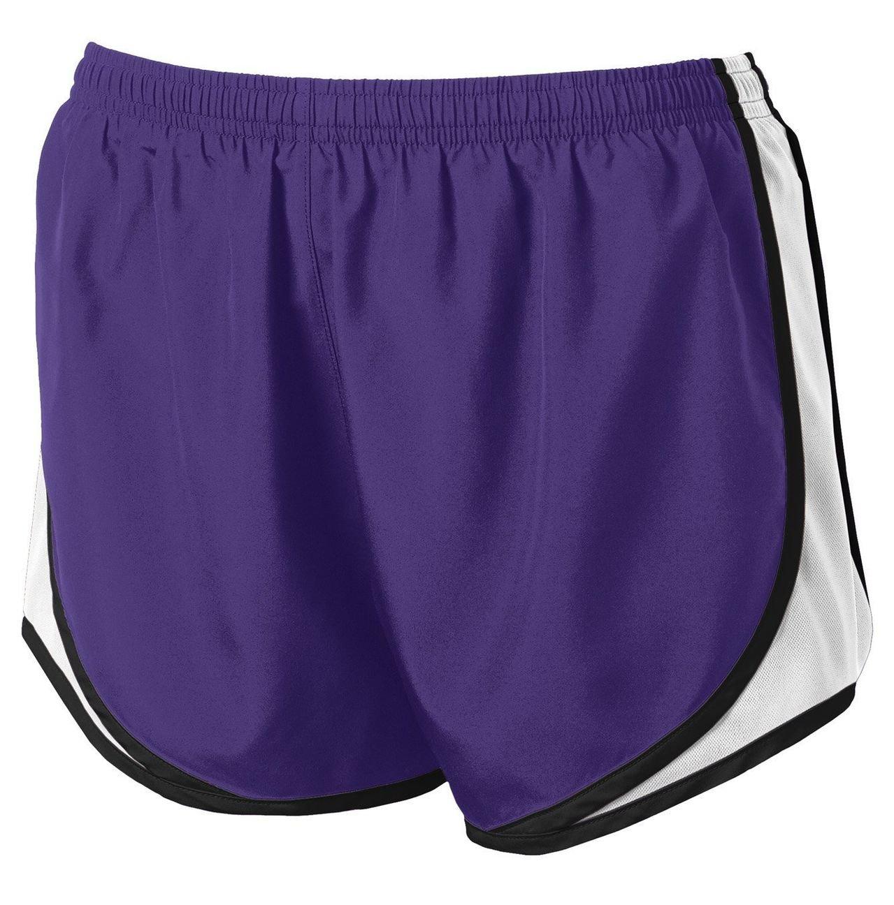 Clothe Co. Ladies Moisture Wicking Sport Running Shorts, Purple/White/Black, XS