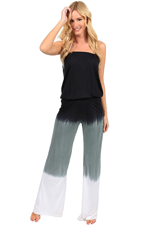 Ingear Summer Jumper Long Tie Dye Strapless Beach Romper Playsuit Jumpsuit