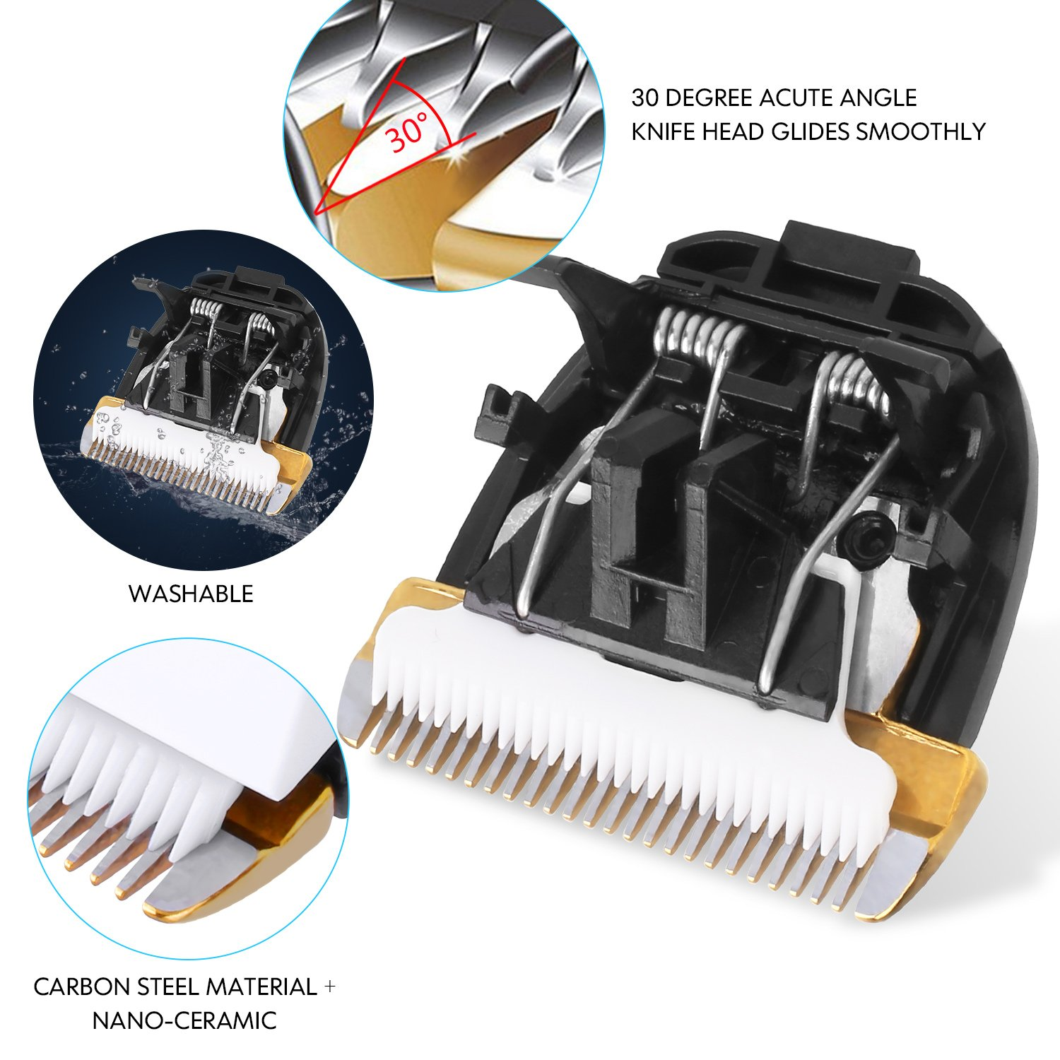 Dog Grooming Clippers Professional Pet Clipper Trimmer Kit Silent Cordless Rechargeable Low Noise for Dogs Cats Horses Animal, 480 Minutes Life, 5 LED Indications