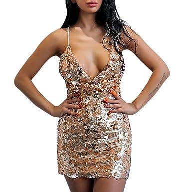 Angelof Robe Bretelle Femme Robe Sexy à Dos Nu Avec Sequins Mini