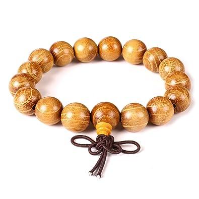 3f07f6a64cd5 Pulsera de cuentas de madera de 12 mm con oración Mala Yoga Reiki para  hombres y mujeres pulsera elástica tibetana budista  Amazon.es  Joyería