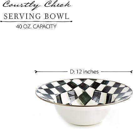 Large 12 Inch Serving Dish Mackenzie Childs Courtly Check Bowl Enamel Kitchenware Line Serveware Kolenik Kitchen Dining