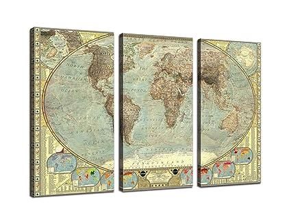 Amazon Com 3 Piece Canvas Art Print Vintage Home Decor World Map
